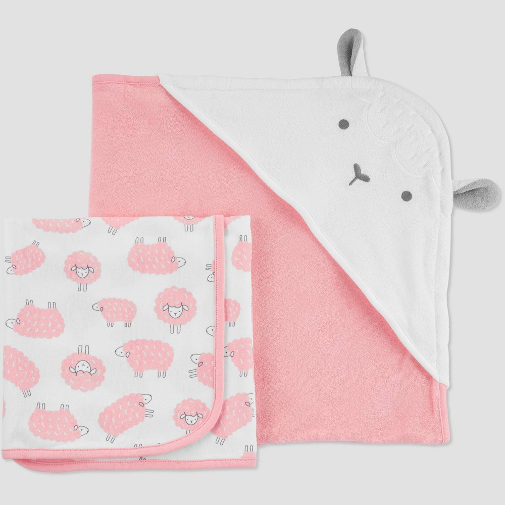 Image of Baby Girls' Sheep Bath Towel Set - Just One You made by carter's Pink