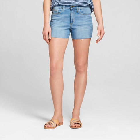 Women's High-Rise Midi Jean Shorts - Universal Thread™ Light Wash - image 1 of 3