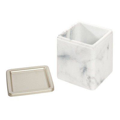 Dakota Bath Canister White - iDESIGN