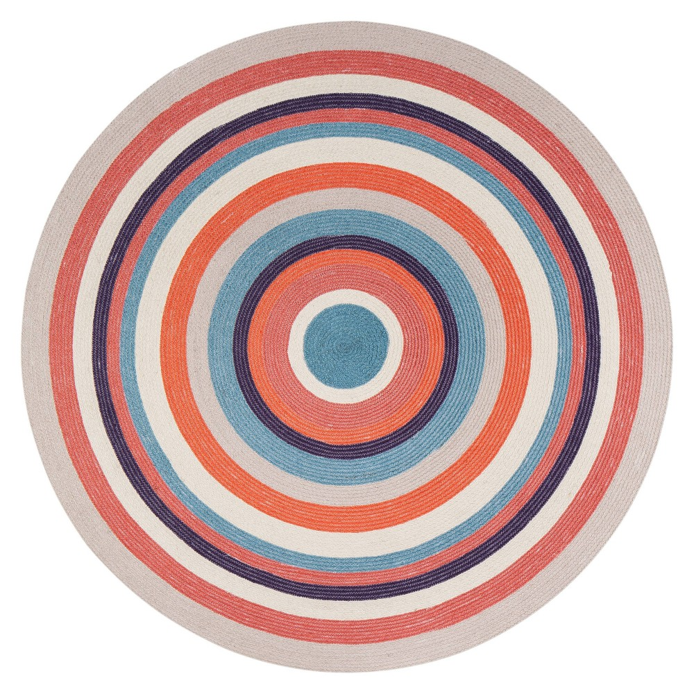 Concentric Jute Rug  - Anji Mountain 8' Round Concentric Jute Rug Beige/Orange - Anji Mountain Gender: unisex. Pattern: Shapes.