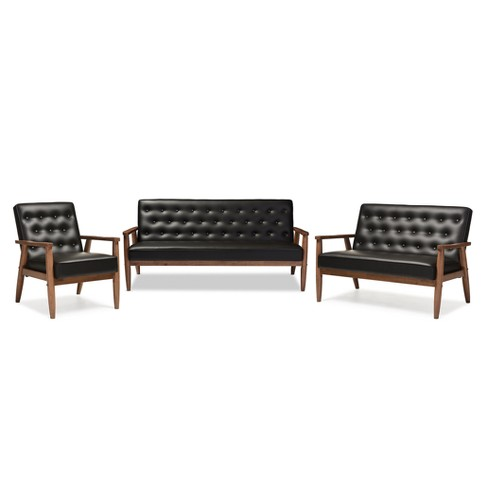 Sorrento Mid - Century Retro Modern Faux Leather Upholstered Wooden 3 Piece Living Room Set - Baxton Studio - image 1 of 2