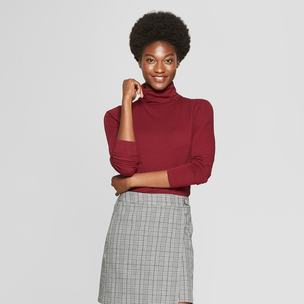 Women's Long Sleeve Fitted Turtleneck - A New Day Burgundy (Red) XL