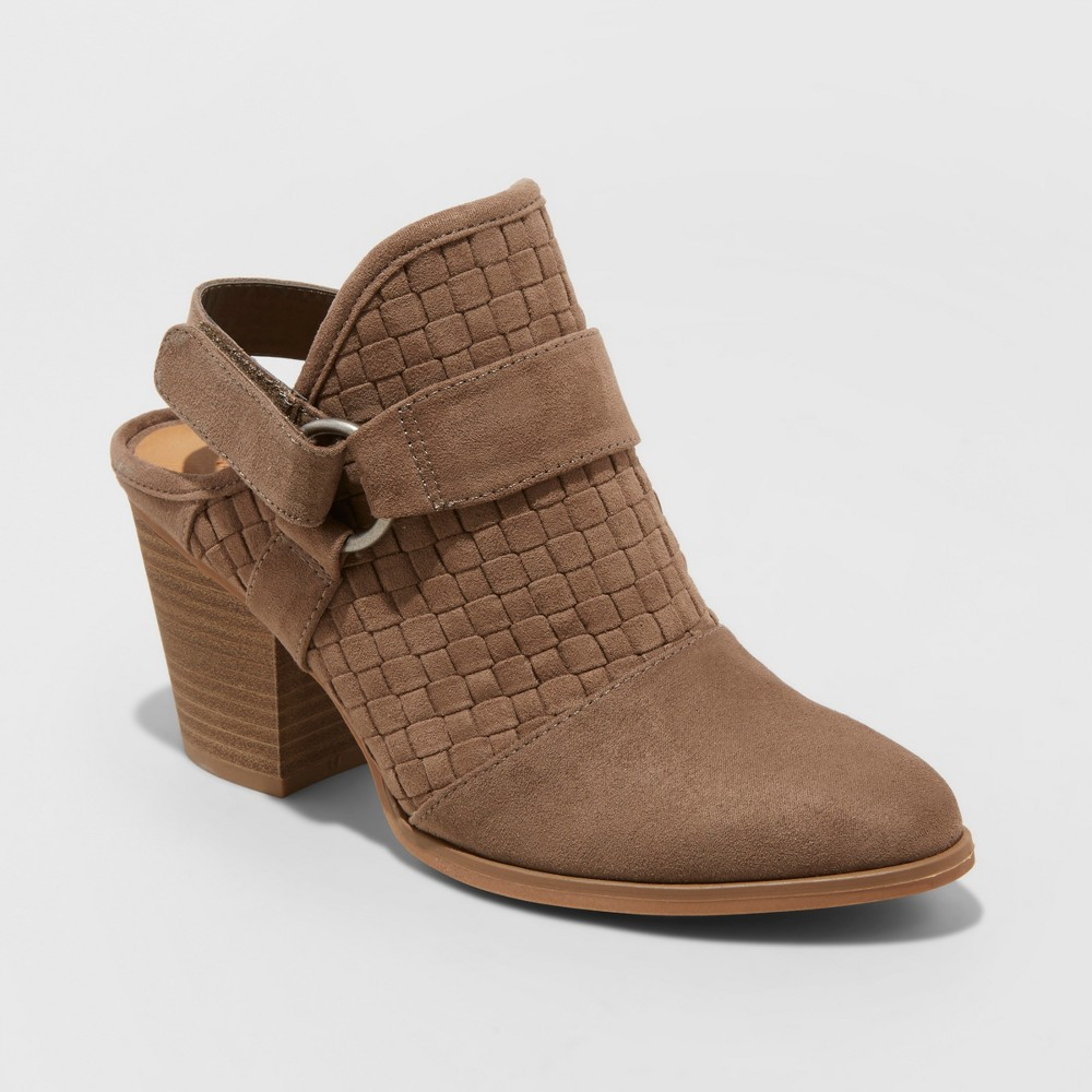 Women's Olive Back Strap Heeled Bootie - Universal Thread Taupe (Brown) 8