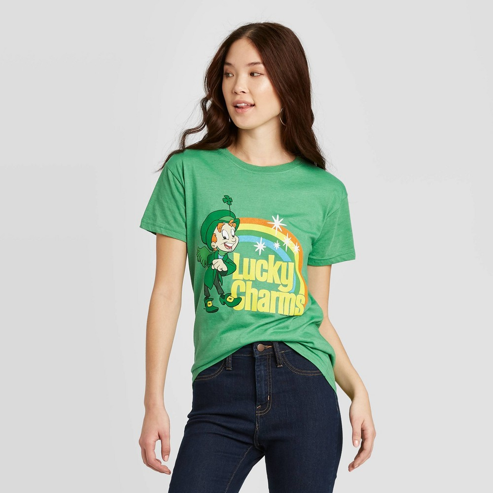 Image of Women's St. Patrick's Day General Mills Lucky Charm Short Sleeve T-Shirt (Juniors') - Green L, Women's, Size: Large