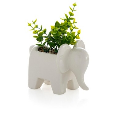 Elephant Planter With Faux Plant  - White - Shiraleah