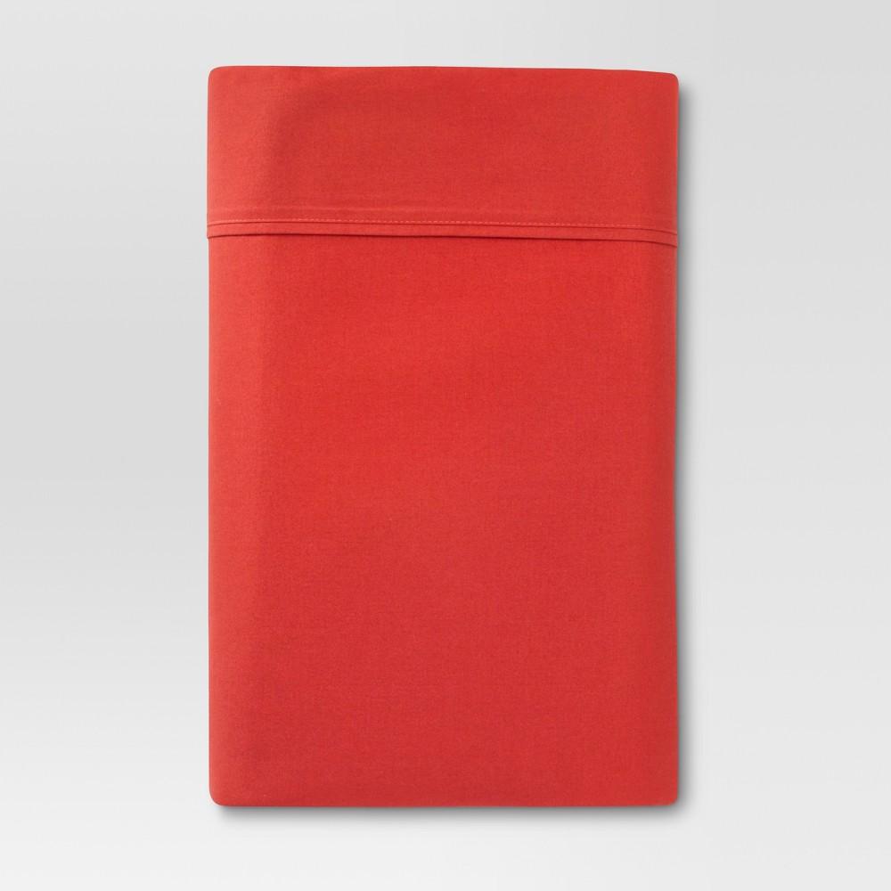 Ultra Soft Flat Sheet (King) Red Orange 300 Thread Count - Threshold