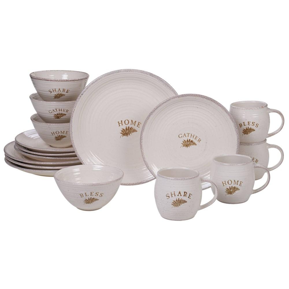 Image of 16pc Stoneware Gather Dinnerware Set White - Certified International