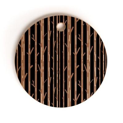 Lisa Argyropoulos Modern Trees Black Cutting Board Round - Deny Designs