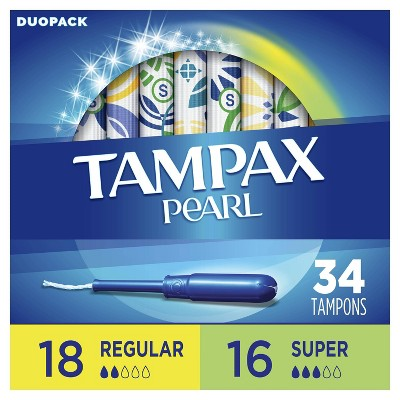 Tampax Pearl Tampons Regular/Super Absorbency with LeakGuard Braid -Duo Pack - Unscented - 34ct