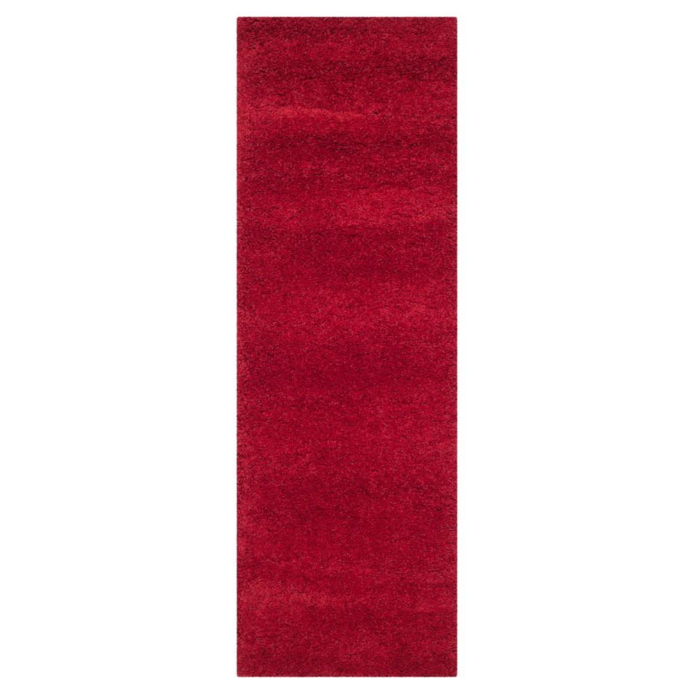Red Solid Shag/Flokati Loomed Runner - (2'X8' Runner) - Safavieh