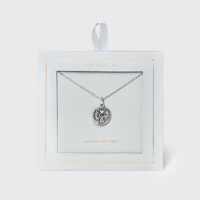 Round Angel with Heart Medallion Necklace - Silver