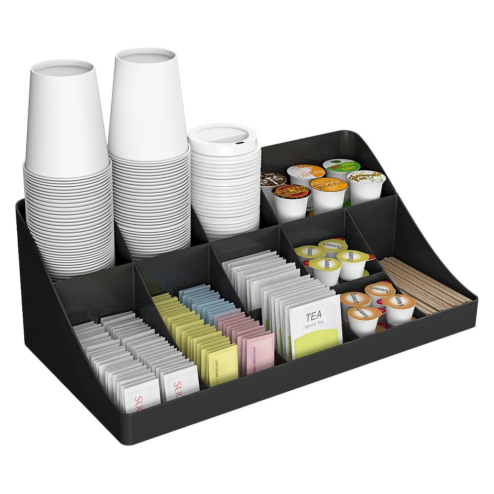Mind Reader 11 Compartment Breakroom Condiment Organizer- Black
