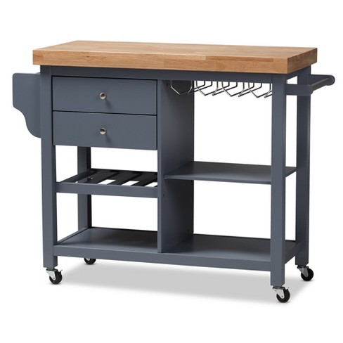 Sunderland Coastal and Farmhouse Natural Wood Kitchen Cart Gray, Light Brown - Baxton Studio - image 1 of 15