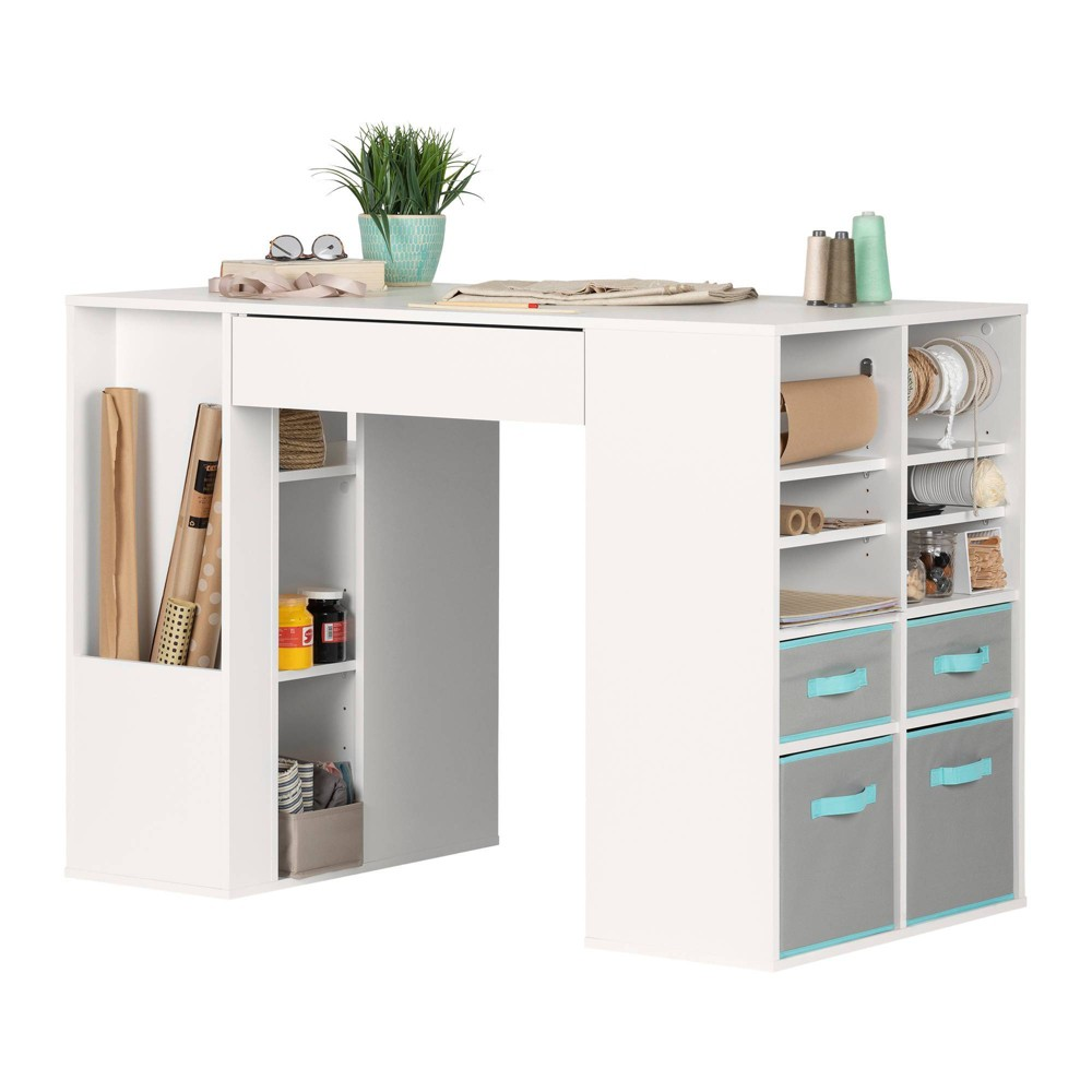 Image of Crea Counter Height Craft Table with Storage White - South Shore