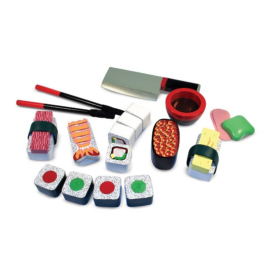 Buy Melissa Doug Sushi Slicing Wooden Play Food Set For Usd 16 99 Toys R Us
