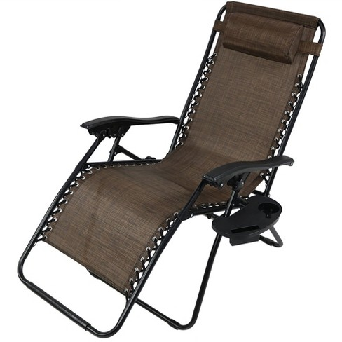 Oversized Zero Gravity Lounge Chair With Pillow And Cup Holder Single Dark Brown Sunnydaze Decor Target
