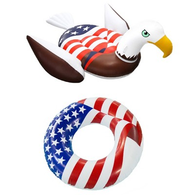 Swimline Inflatable American Bald Eagle Giant Float & 36 In. American Flag Float