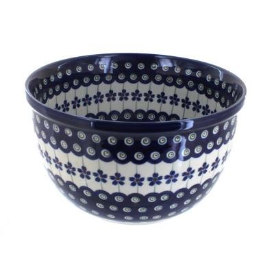 Blue Rose Polish Pottery Flowering Peacock Medium Mixing Bowl