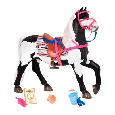 """Our Generation Black & White Paint Horse with Saddle for 18"""" Dolls"""