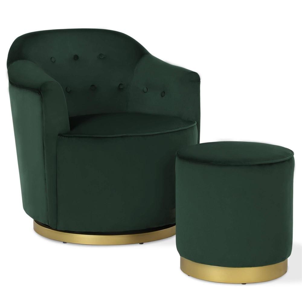 Azalea Swivel Chair & Ottoman Set Green - Novogratz