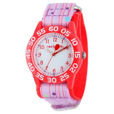 Girls' Red Balloon Red Plastic Time Teacher Watch - Pink