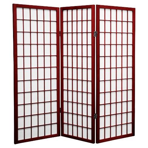 4 ft. Tall Window Pane Shoji Screen 3 Panels - Oriental Furniture - image 1 of 1