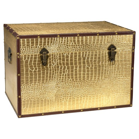 Faux Leather Gold Crocodile Trunk - Oriental Furniture - image 1 of 4