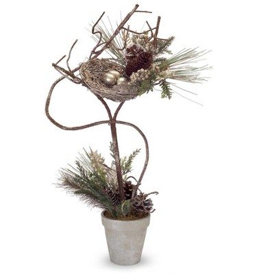 """Melrose 28"""" Brown Pine Cones and Birds Nest Christmas Topiary Tabletop Tree"""