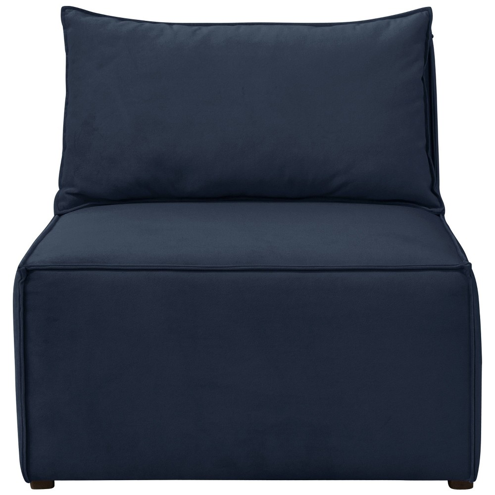 French Seamed Armless Chair in Velvet Navy - Cloth & Co.