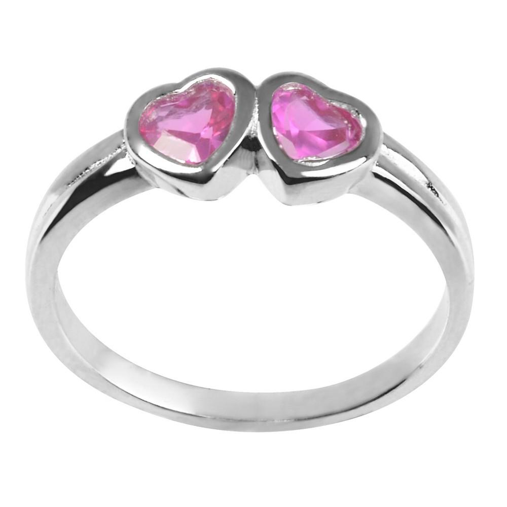 1/5 CT. T.W. Heart-cut CZ Bezel Set Kid's Heart Ring in Sterling Silver - Red, 1, Girl's