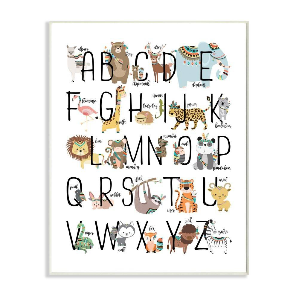 "Image of ""10""""x0.5""""x15"""" Boho Animal Abc's Wall Plaque Art - Stupell Industries"""