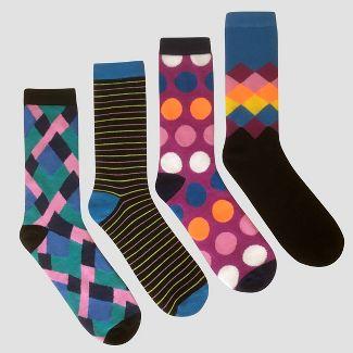 Men's Diamond Striped Casual Socks 4pk - Black 6-12