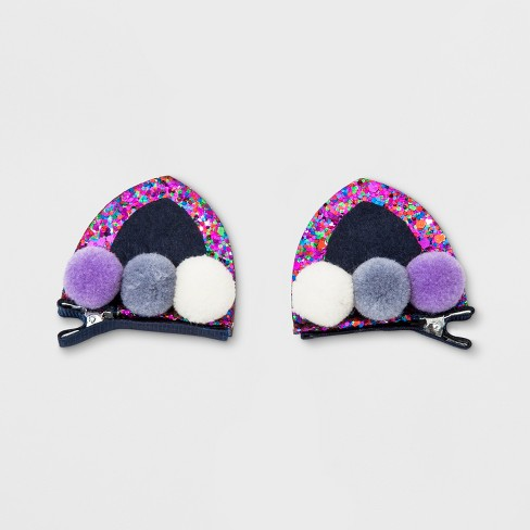 Girls' Glitter Pom Pom Cat Ear Clip - Cat & Jack™ Navy - image 1 of 1