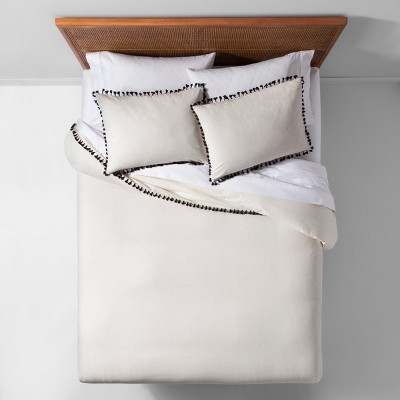 White Yarn Dyed Tassel Trim Duvet Cover Set (Full/Queen)- Opalhouse™
