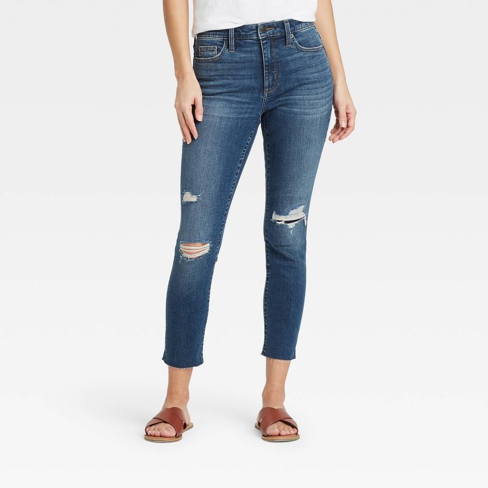 Women 39 S High Rise Skinny Cropped Jeans Universal Thread 8482 Dark Blue 16