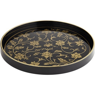 Dahlia Studios Floral Painted Black and Gold Round Decorative Tray