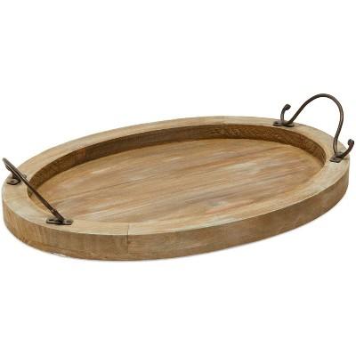 "Farmlyn Creek Wood Farmhouse Oval Coffee Table Serving Tray Platter with Handles Brown 16""x11""x2"""
