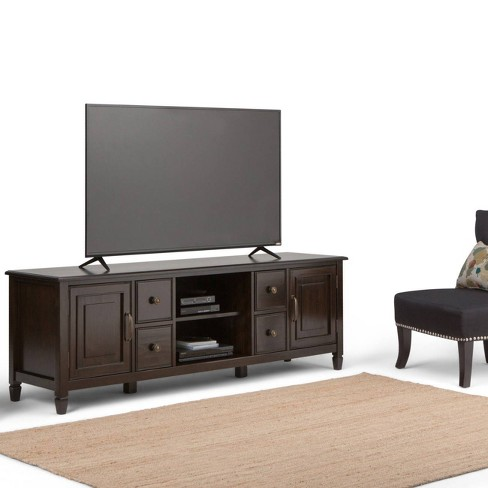 Hampshire Solid Wood 72 Inch Wide Tv Stand Dark Chestnut Brown For