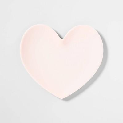 "8.9"" x 6.6"" Melamine Heart Shaped Dining Plate Pink - Opalhouse™"