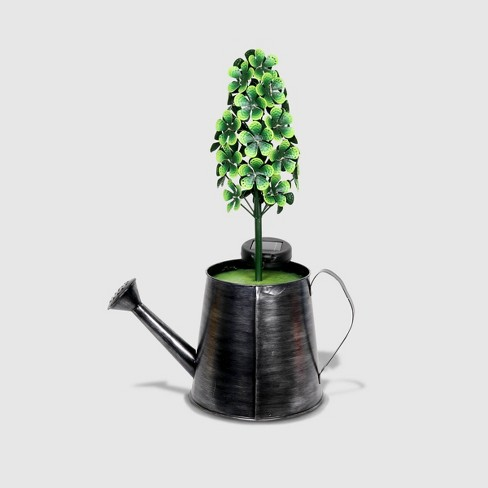 "20"" Resin Solar Topiary In Galvanized Watering Can Green - Exhart - image 1 of 2"