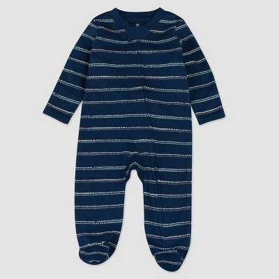Honest Baby Boys' Organic Cotton Dotted/Striped Sleep N' Play - Navy