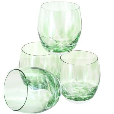 Blue Rose Polish Pottery Green Confetti Juice Glass Set