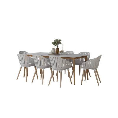Newhaven 9pc Patio Dining Set with Rectangular Table with Teak Finish - Amazonia