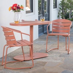 Santa Monica 3pc Iron Patio Bistro Set - Crackle Orange - Christopher Knight Home