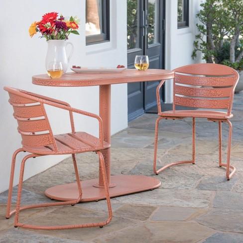 Fabulous Santa Monica 3Pc Iron Patio Bistro Set Crackle Orange Download Free Architecture Designs Scobabritishbridgeorg