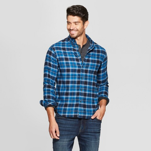 c2bb0c8894fe Men s Plaid Standard Fit Long Sleeve Pocket Flannel Button-Down Shirt -  Goodfellow   Co™
