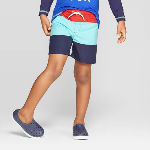 Toddler Boys' Colorblock Swim Trunks - Cat & Jack™ Red/Blue - image 1 of 4
