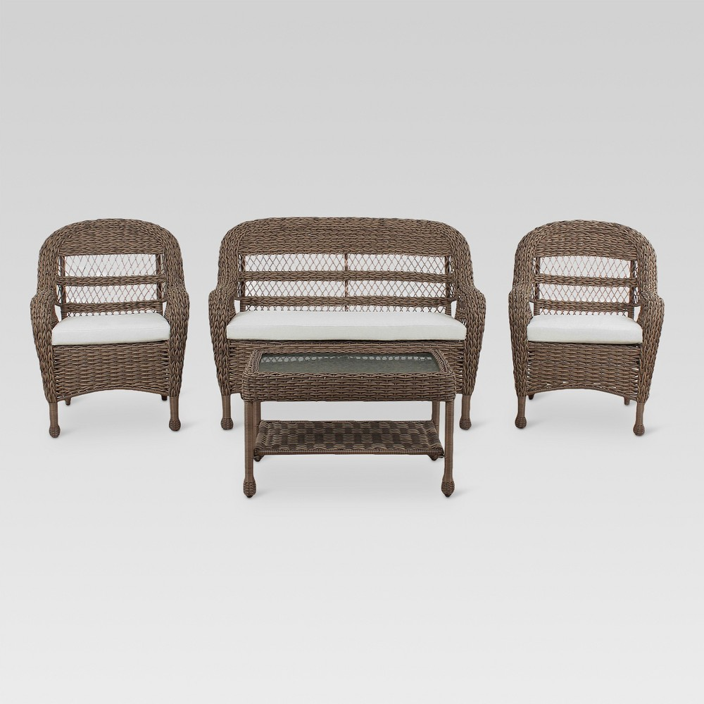 Medford 4pc All-Weather Wicker Outdoor Patio Stacking Conversation Set - Brown - Threshold