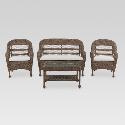 Medford 4pc All Weather Wicker Outdoor Patio Stacking Conversation Set    Brown   Threshold™