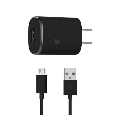 Just Wireless 1.0A/5W 1-Port USB-A Home Charger with 6ft TPU Micro USB to USB-A Cable - Black